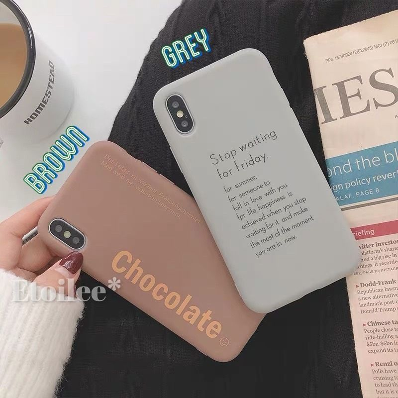 Brown grey letter iphone case