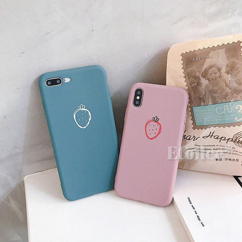 Strawberry pink blue iphone case
