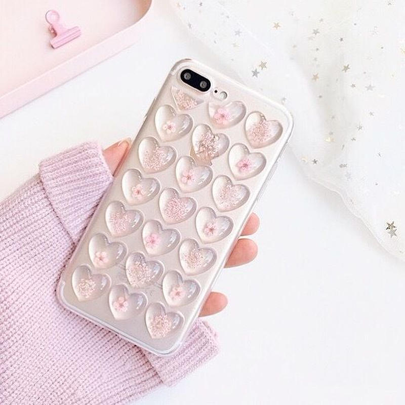 ⚠️発送遅延⚠️Flower pink heart iphone case