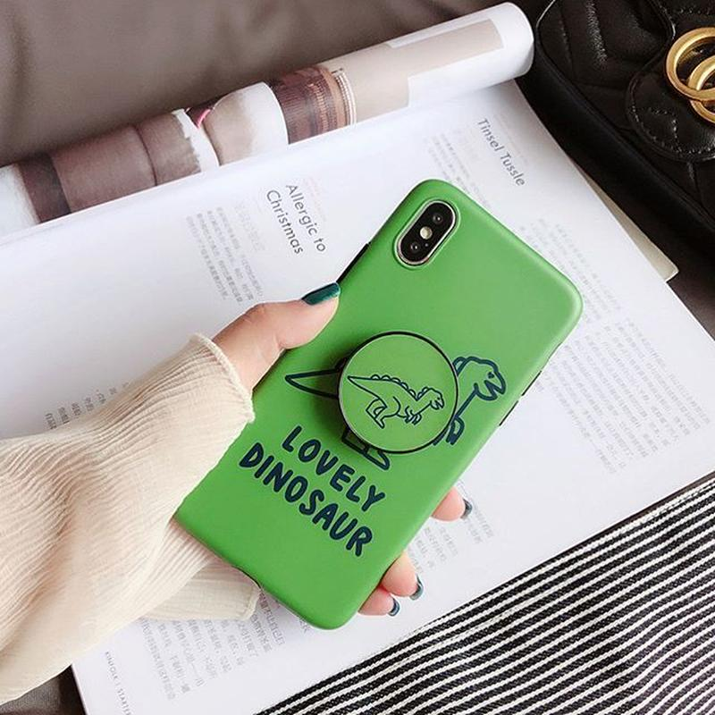 Green dinosaur with stand iphone case