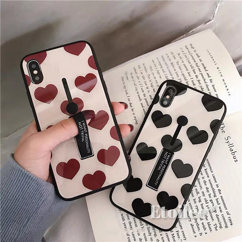 Red black heart  black band iphone case