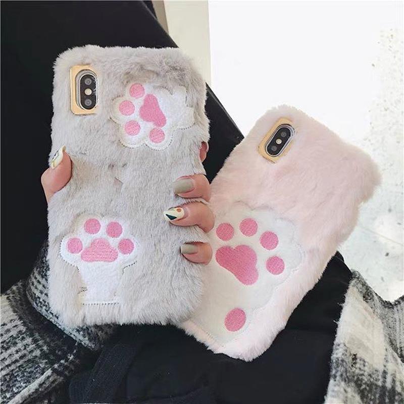 Cat paw fur iphone case