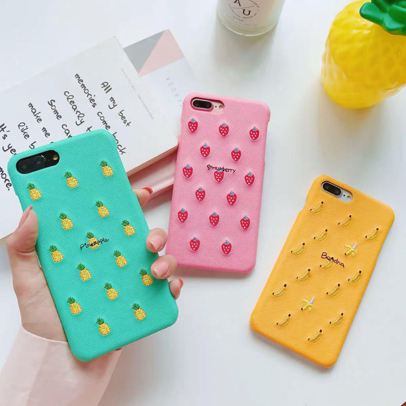 Fruits embroidered iphone case