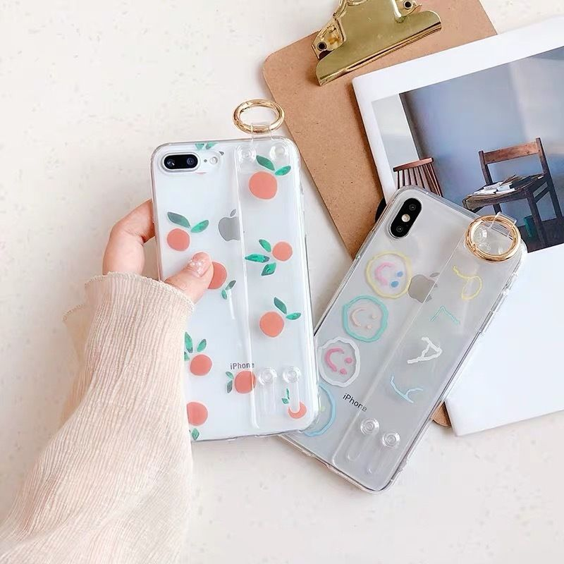 Orange play clear strap iphone case