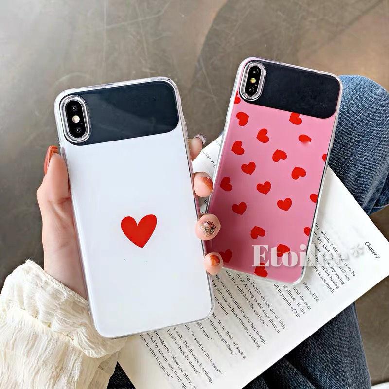White pink heart mirror iphone case