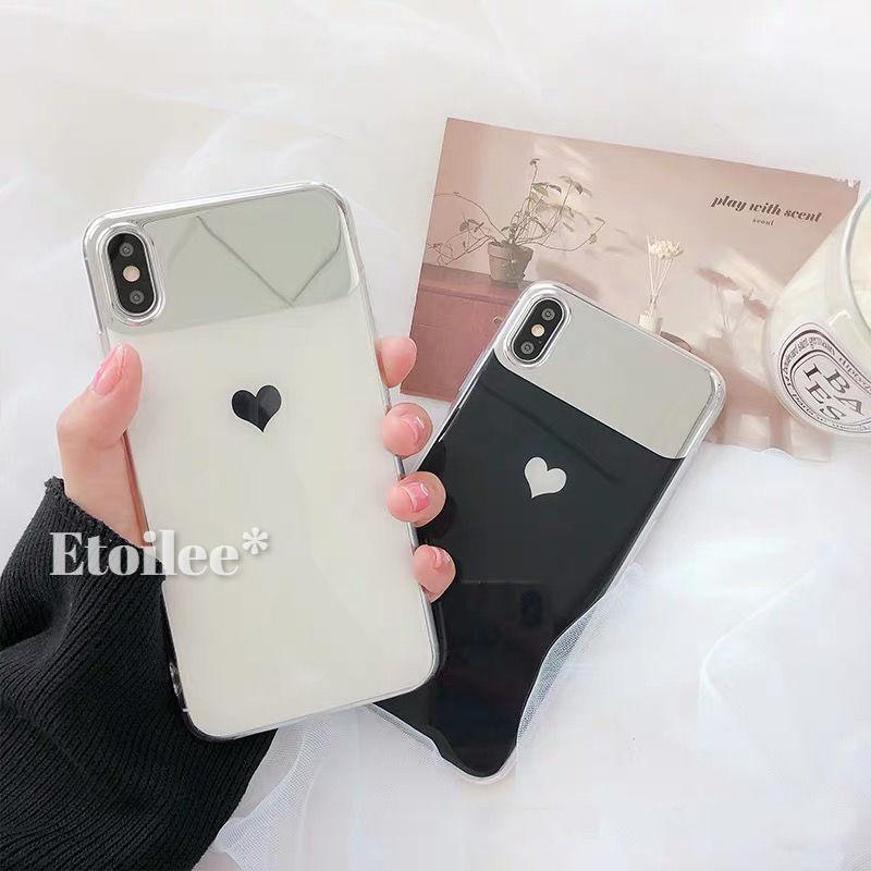 One heart white black mirror iphone case