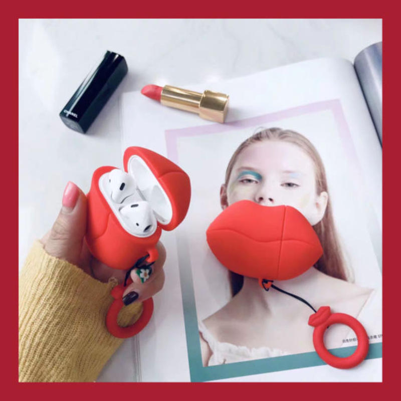 Red lip airpods case