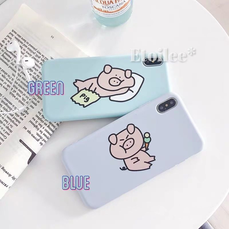Pig green blue iphone case