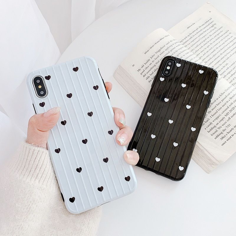 Heart white black suitcase pattern iphone case