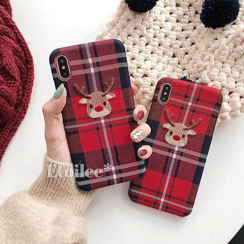 Red check deer iphone case