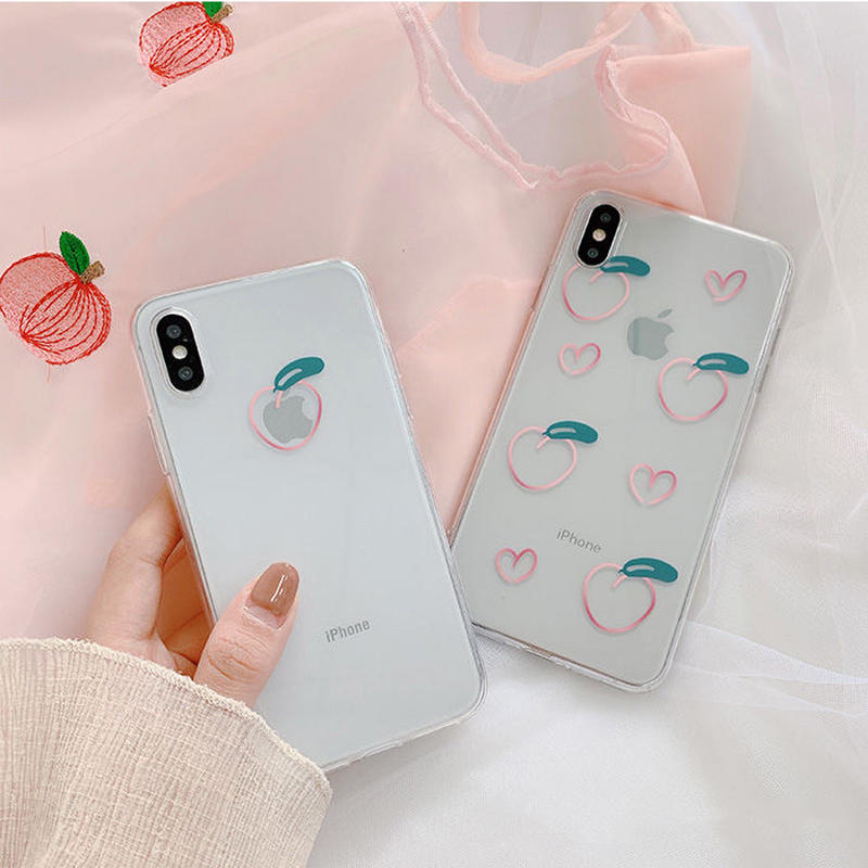 Peach drawing clear  iphone case