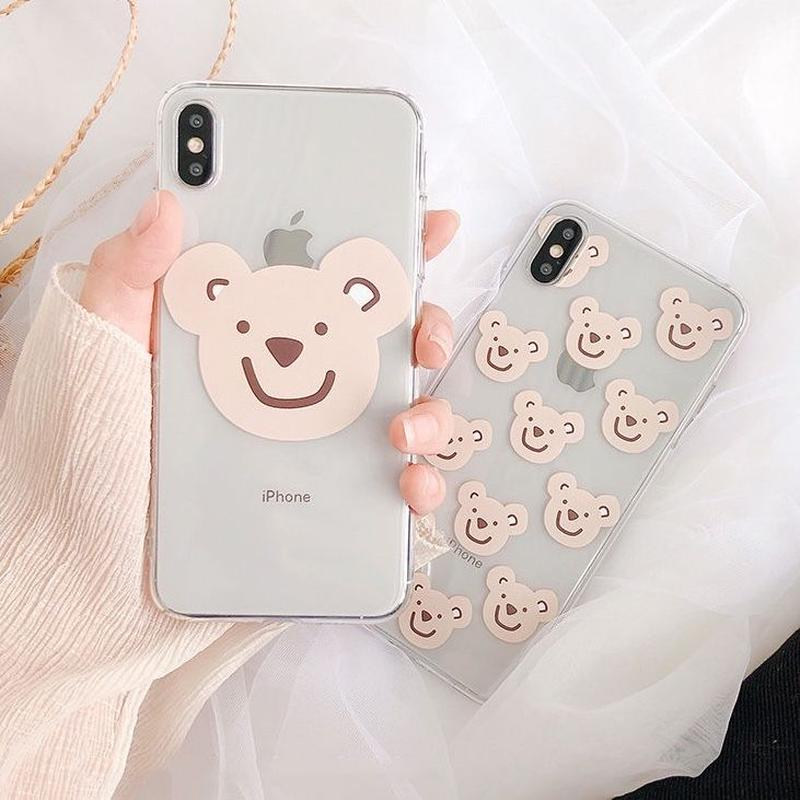 Beige bear clear  iphone case