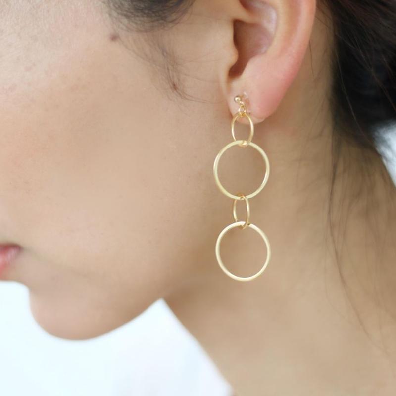 silver design chain earrings (ゴールド/シルバー)