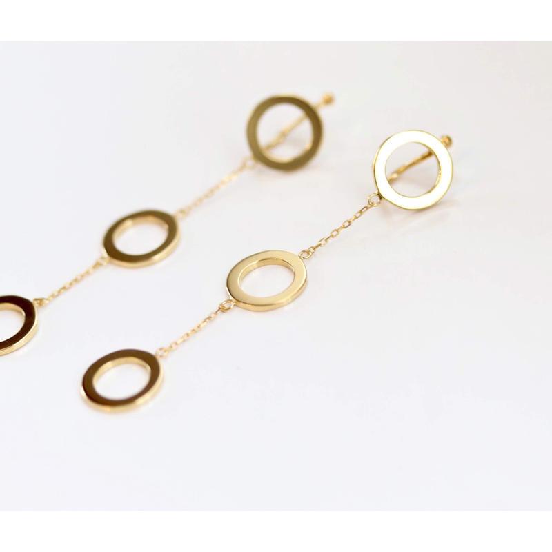 tripricade  3連まるのイヤリング(ゴールド/シルバー)