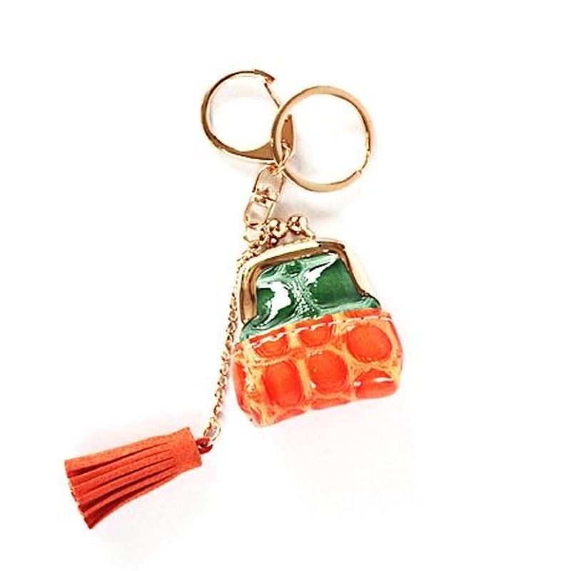 ミニバッグタッセルチャーム(グリーン&オレンジ)