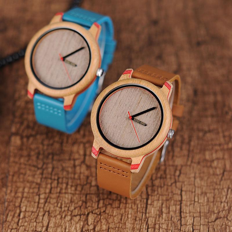 BOBO BIRD 2カラー展開  シンプル 木製腕時計 クォーツ 本革バンド 木の温もり ユニセックス
