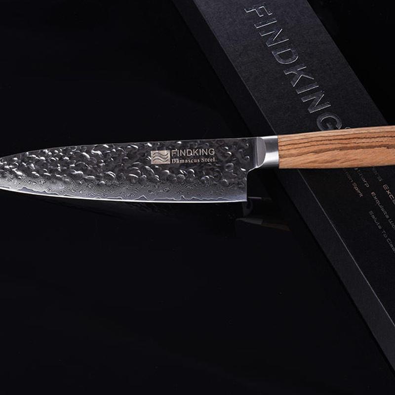 Findking 201 ゼブラウッドハンドル ダマスカスナイフ 8インチ ダマスカス鋼包丁