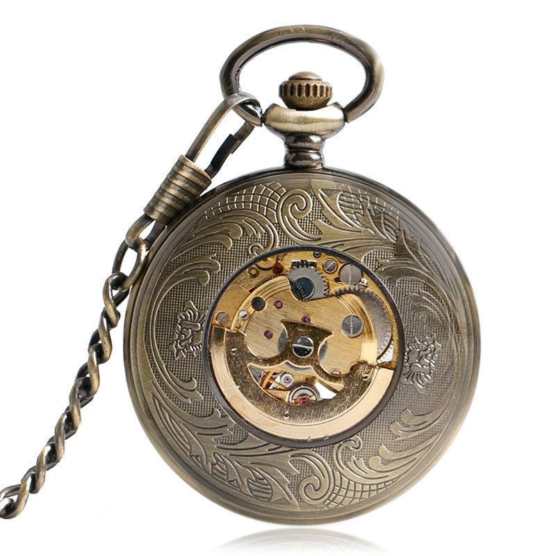 懐中時計 ポケットウォッチ ステンレス製  ブロンズペンダント 自動機械式