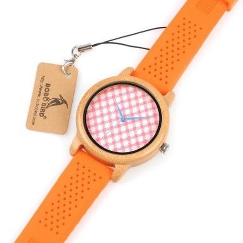BOBO BIRD シンプル 木製腕時計 クォーツ レディース時計 ピンクのチェックダイヤルプレート シリコンストラップ
