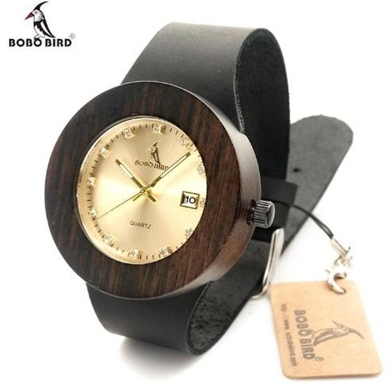 BOBO BIRD 2カラー 木製腕時計 クォーツ 自然に優しい天然木 メンズ&レディースウォッチ 本革ストラップ カレンダー表示
