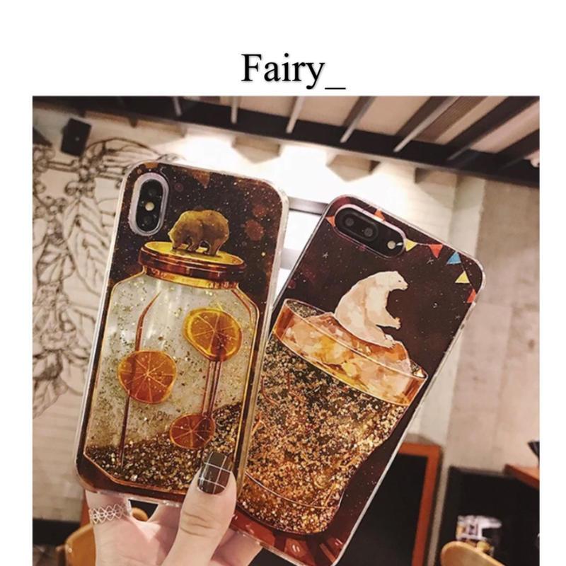 【Q1811013】可愛い熊  ラメinオイル iPhoneケース
