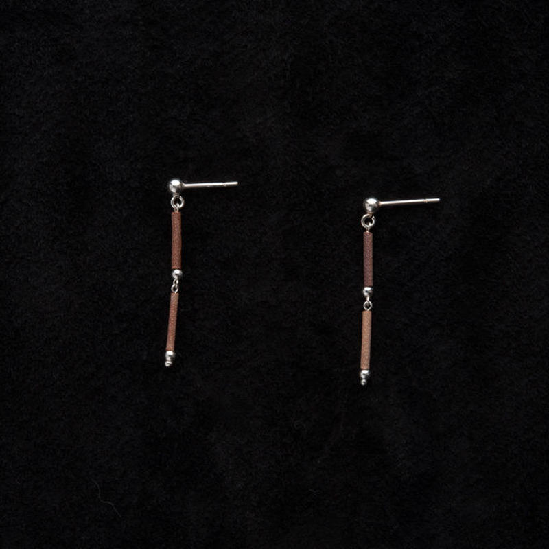 SILVER BEADS STRAIGHT 2 EARRINGS