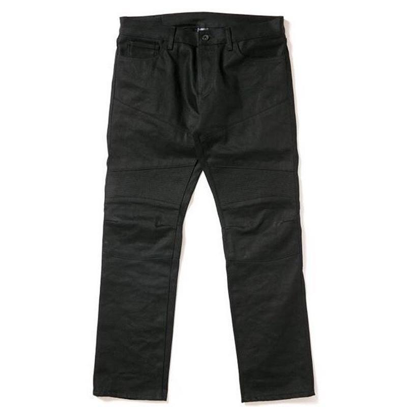 APPLEBUM Black Denim Biker Pants