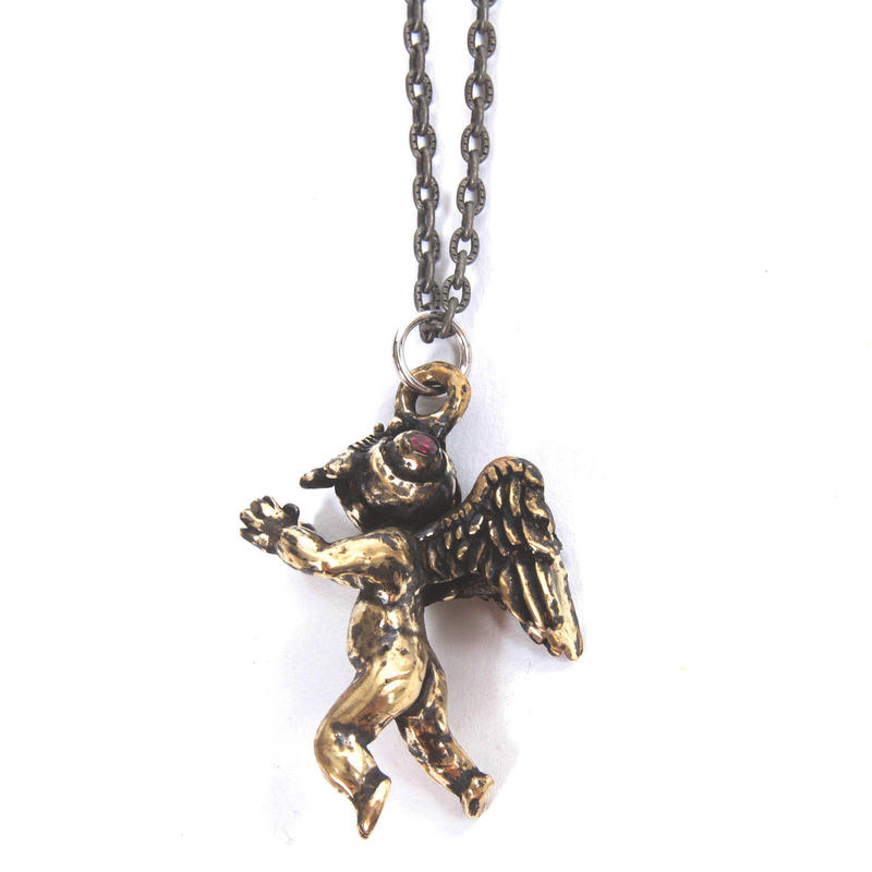 flyangel necklace brass stone