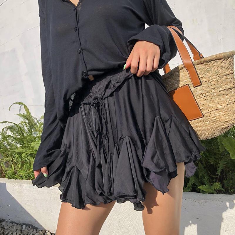 ブラック/ホワイト ウエストゴムプリーツフレアスカート