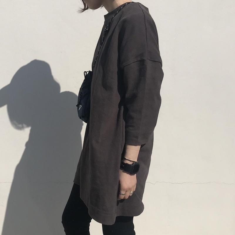 【sold out】コットンロング丈カットソー チャコールグレー