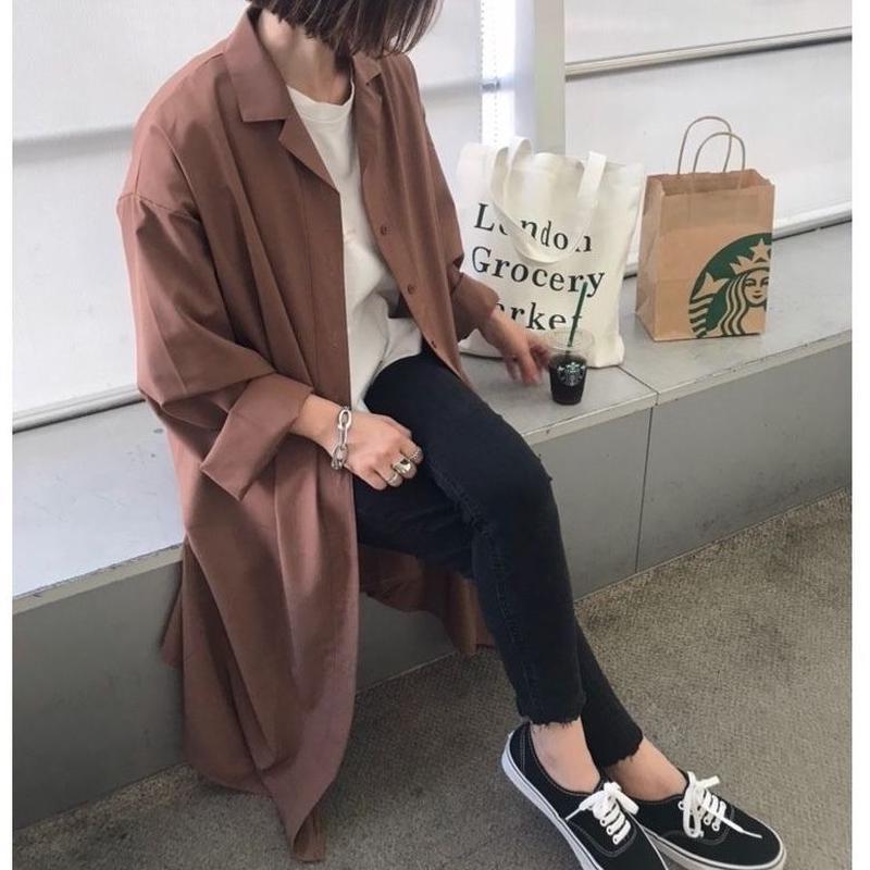 ロングシャツ(brown/navy)即納