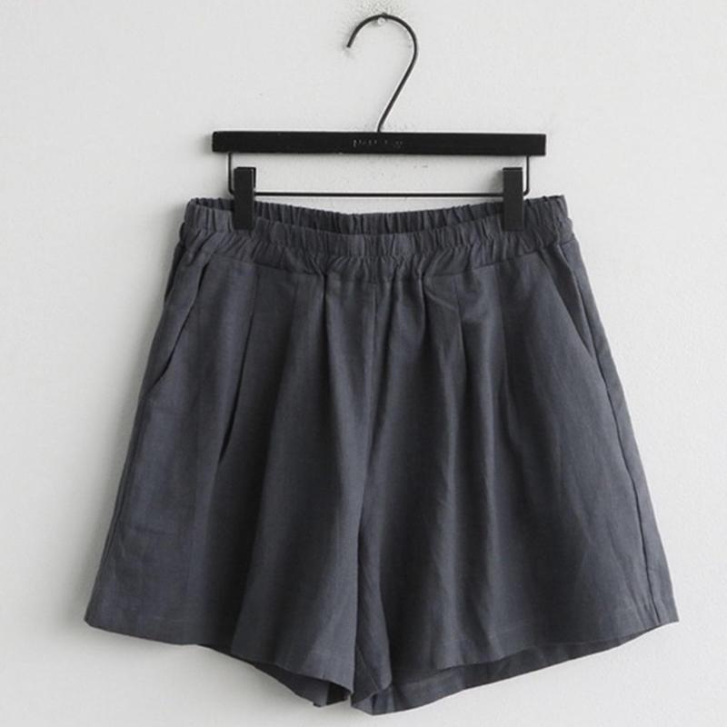 リネン混ショートパンツ dark gray/beige