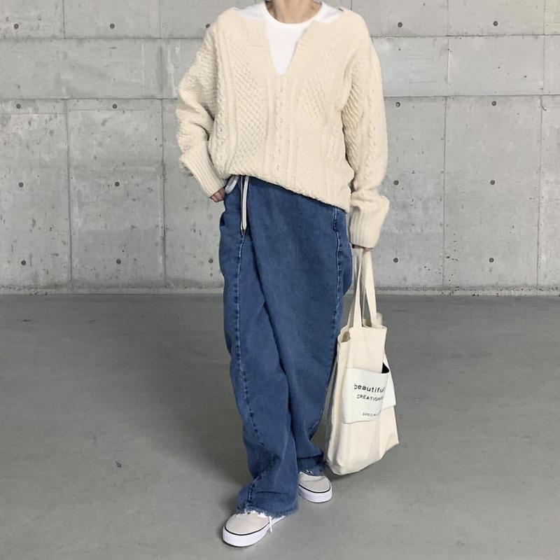 【sold out】Vネック アランニット 即納