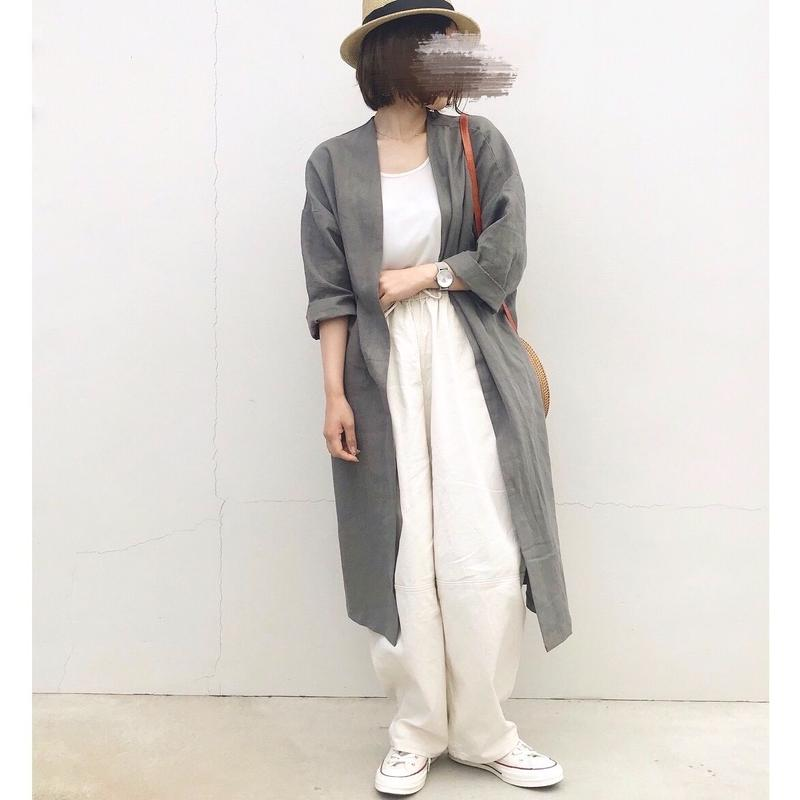 【sold out】リネン ノーカラーロングコート