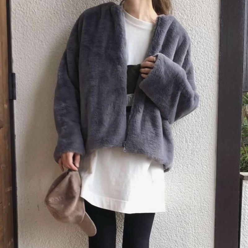 【sold out】ファー ブルゾン gray/ beige