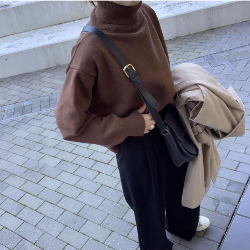 【即納】ハイネックニット