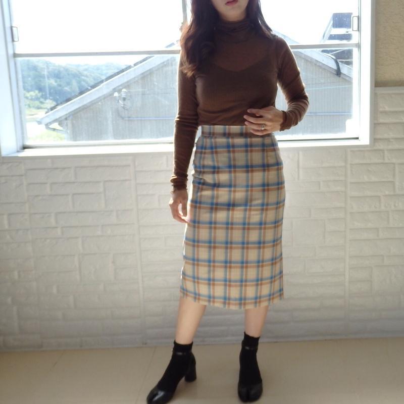 blue check skirt
