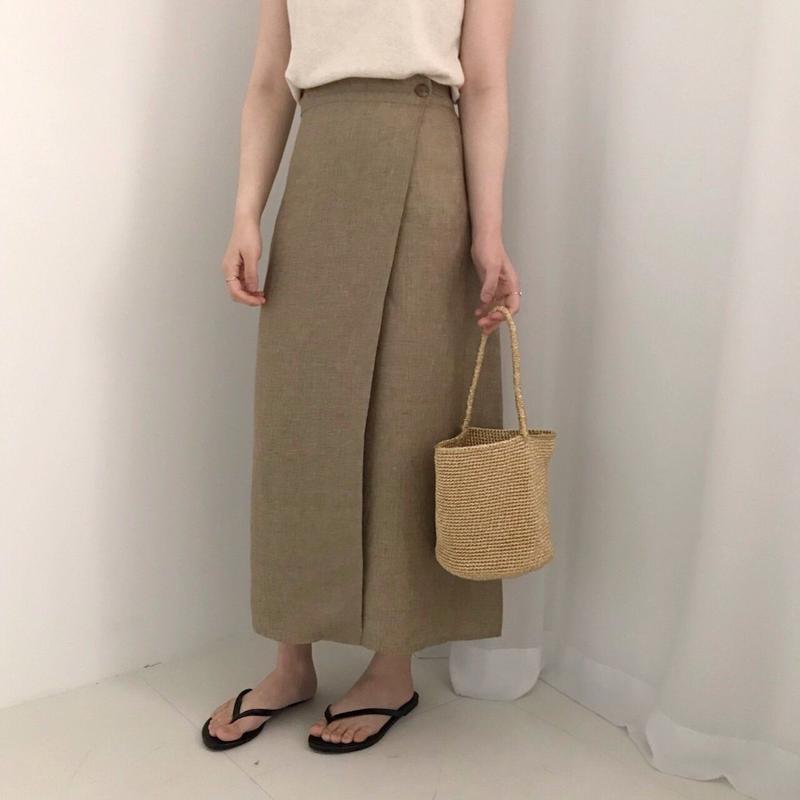 premium linen slit skirt