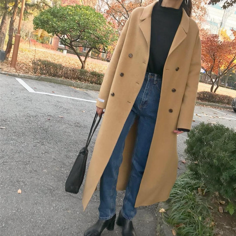 camel long handmade coat