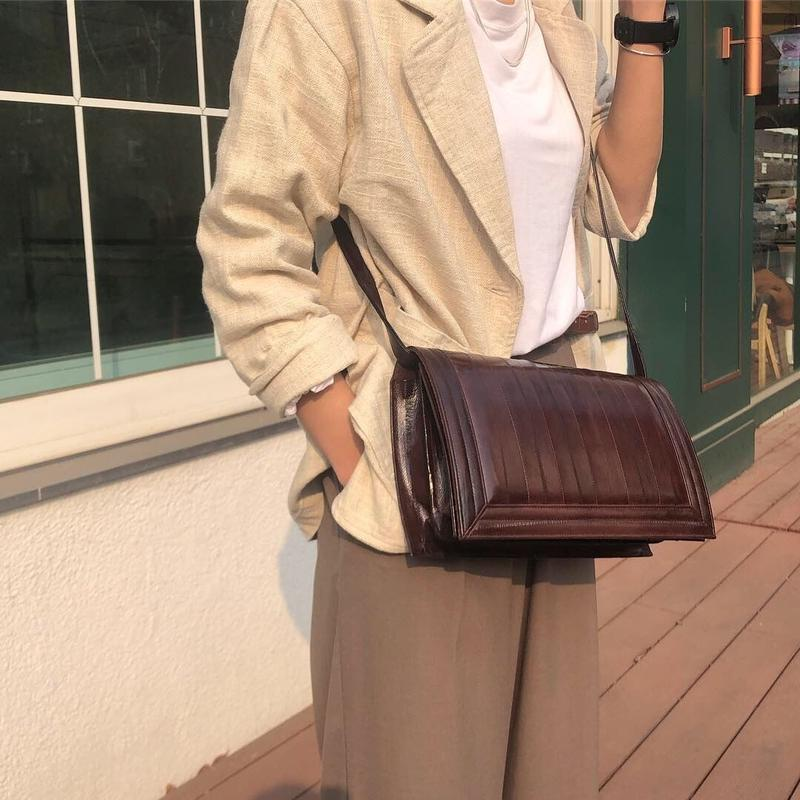 real leather open bag