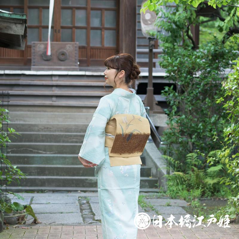 0230 夏物 名古屋帯 夏紬 正絹 薄茶色 草花 帯丈359cm