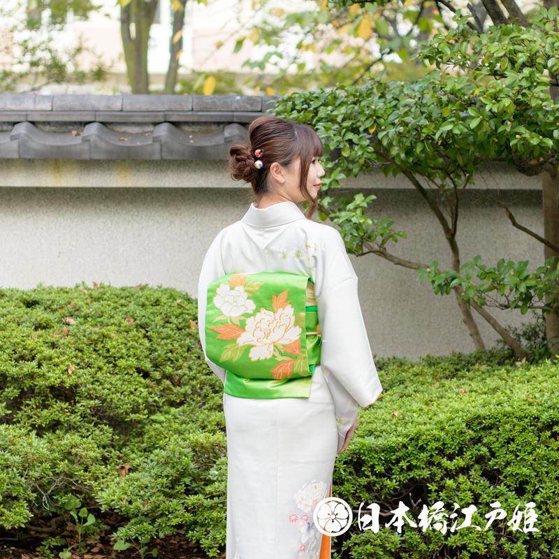 0374 名古屋帯 Aランク美品 正絹 緑 草花 金糸 六通し 帯丈361cm