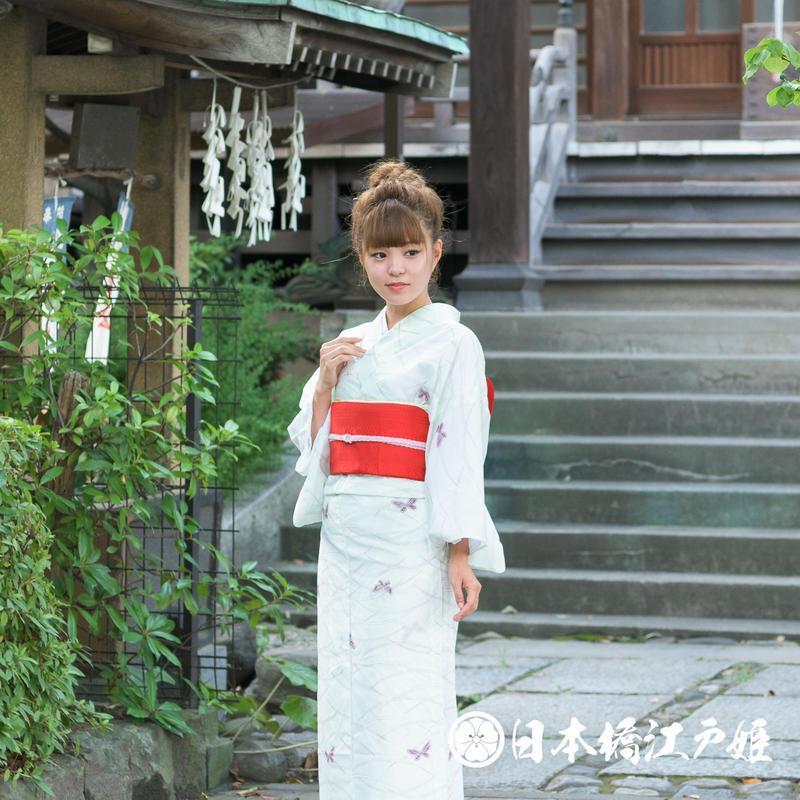 0227 夏着物(薄物) 小紋 絽 化繊