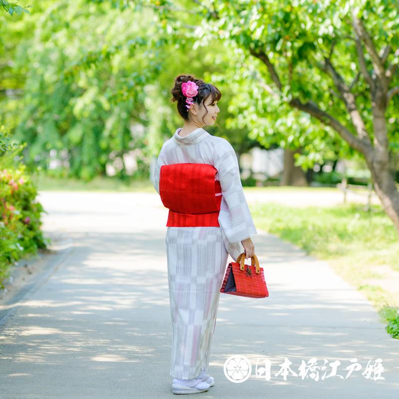 0228 夏物 名古屋帯 Aランク美品 正絹 紗 博多織 全通し 帯丈340cm