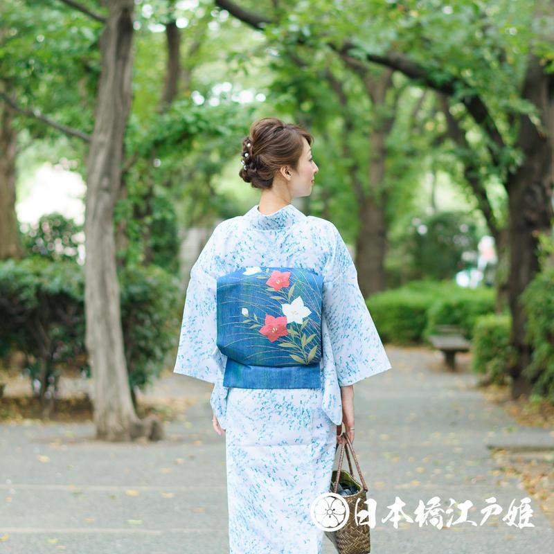0234 夏物 名古屋帯 優品 正絹 青緑 桔梗 唐織 金糸 六通し 帯丈353cm