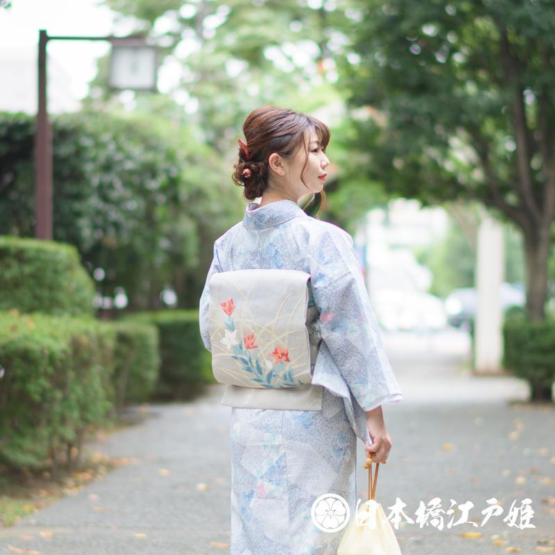 0246 夏物 袋帯 名品 正絹 銀色 桔梗 幾何学 金糸 銀糸 お太鼓柄 帯丈430cm
