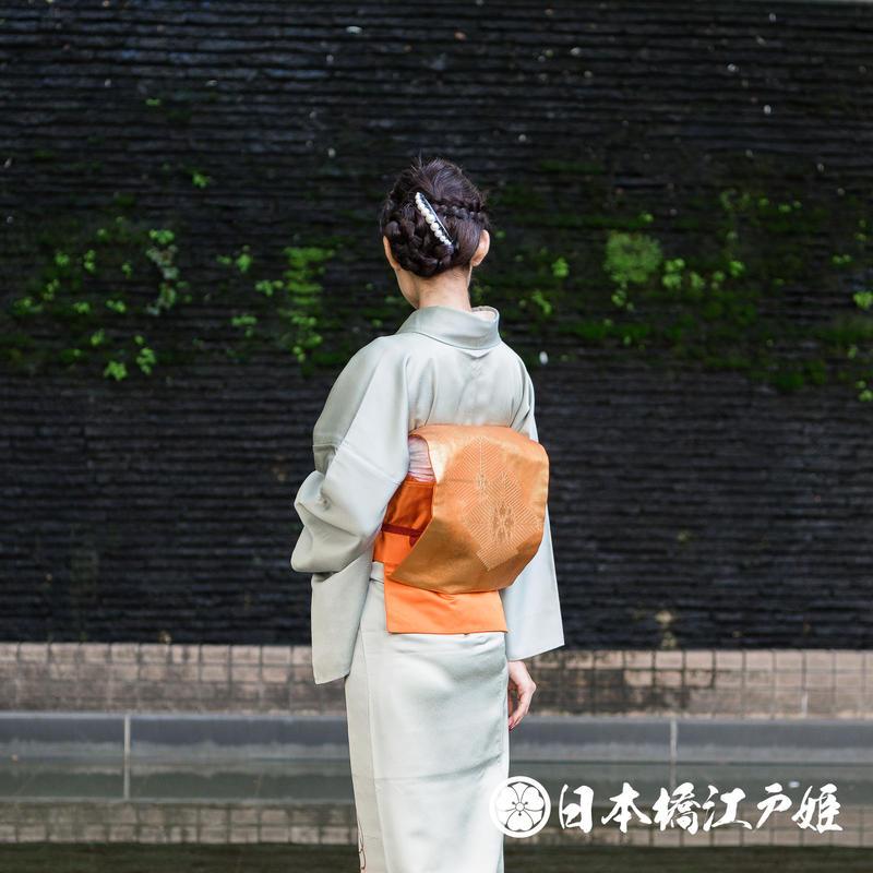 0307 名古屋帯 Aランク美品 正絹 オレンジ 松皮菱 若松 華紋 金糸 六通し 帯丈365cm
