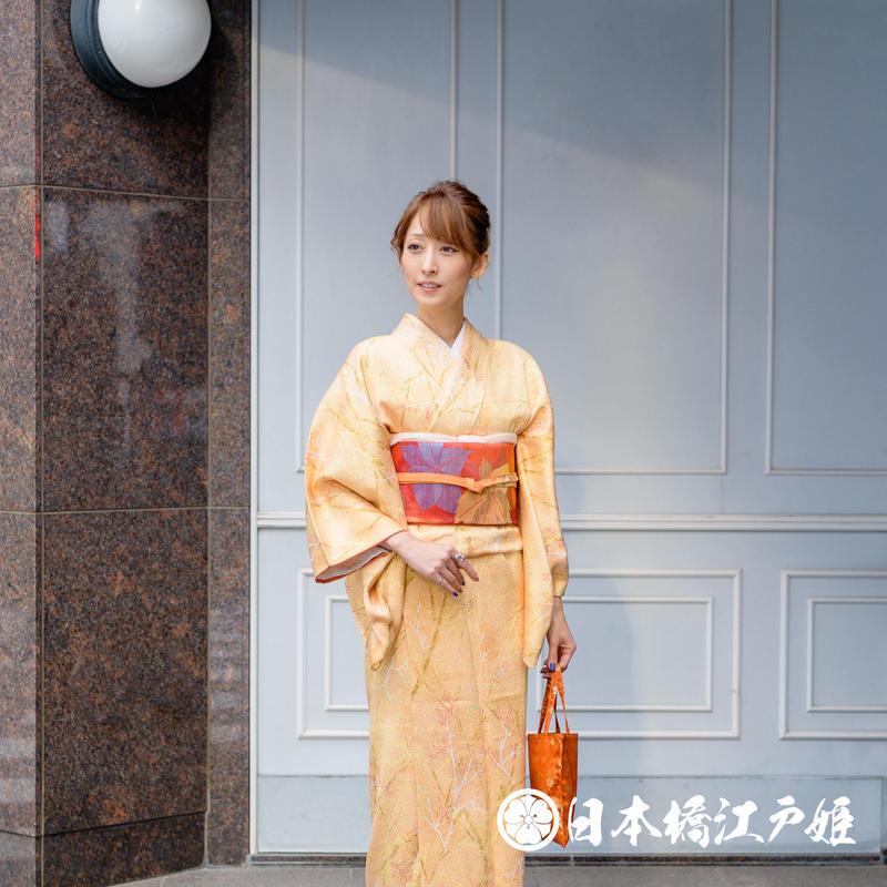 0339 小紋 Aランク美品 正絹 袷 薄オレンジ 枝葉 身丈155cm