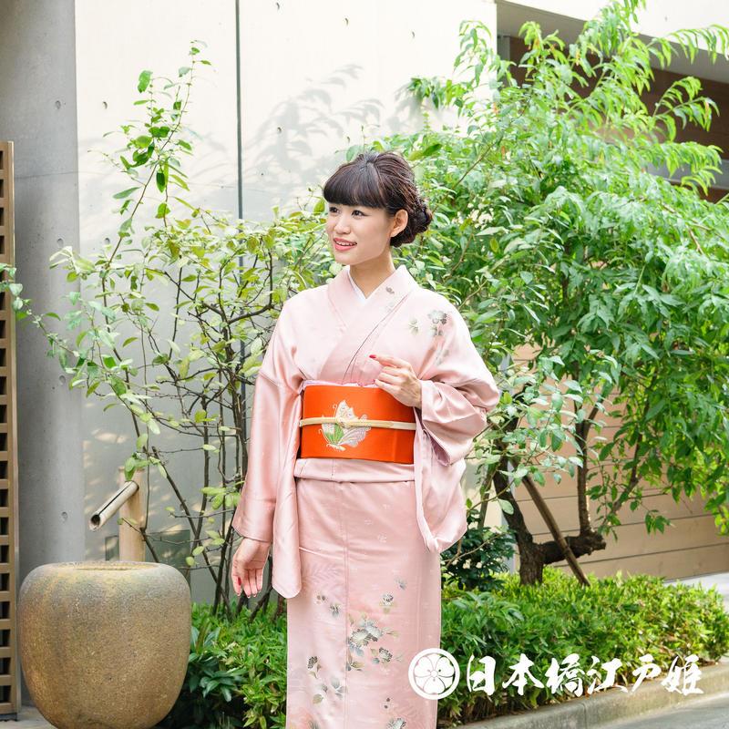 0314 付け下げ 名品 正絹 袷 ピンク 草花 金彩 地紋に紗綾形 身丈158cm