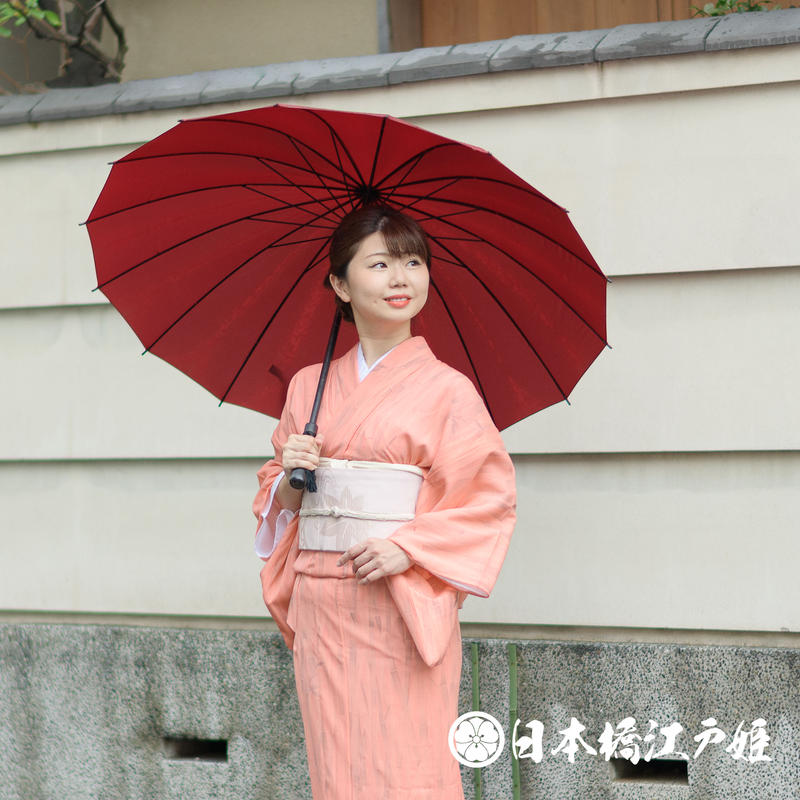 0241 夏物 小紋 薄物 絽 正絹 オレンジ 竹文様 身丈150.5cm